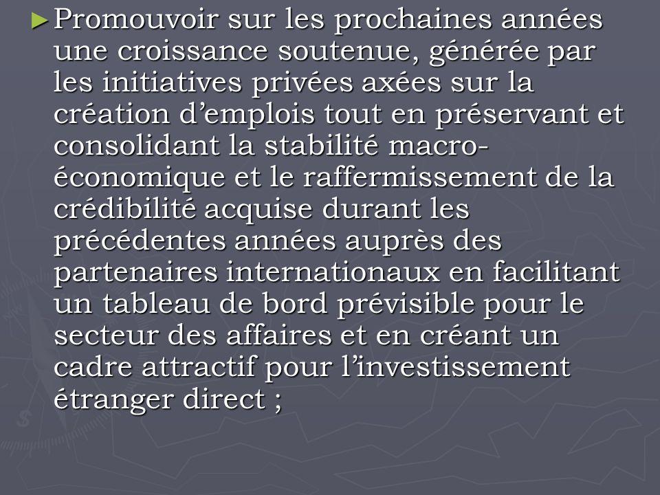 Promouvoir sur les prochaines années une croissance soutenue, générée par les initiatives privées axées sur la création demplois tout en préservant et consolidant la stabilité macro- économique et le raffermissement de la crédibilité acquise durant les précédentes années auprès des partenaires internationaux en facilitant un tableau de bord prévisible pour le secteur des affaires et en créant un cadre attractif pour linvestissement étranger direct ; Promouvoir sur les prochaines années une croissance soutenue, générée par les initiatives privées axées sur la création demplois tout en préservant et consolidant la stabilité macro- économique et le raffermissement de la crédibilité acquise durant les précédentes années auprès des partenaires internationaux en facilitant un tableau de bord prévisible pour le secteur des affaires et en créant un cadre attractif pour linvestissement étranger direct ;