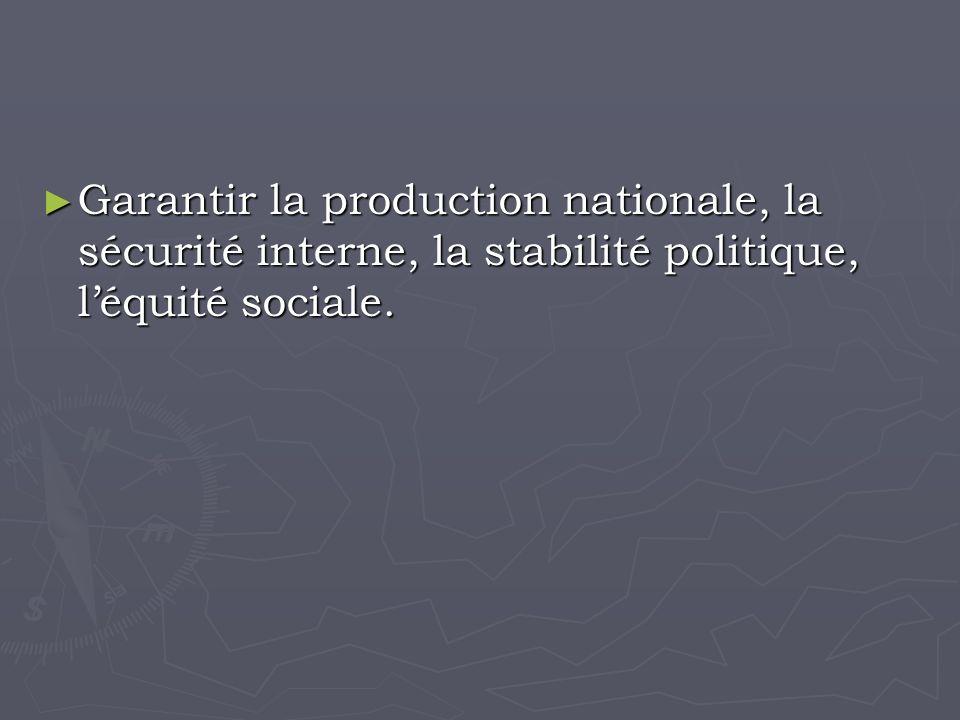 Garantir la production nationale, la sécurité interne, la stabilité politique, léquité sociale.
