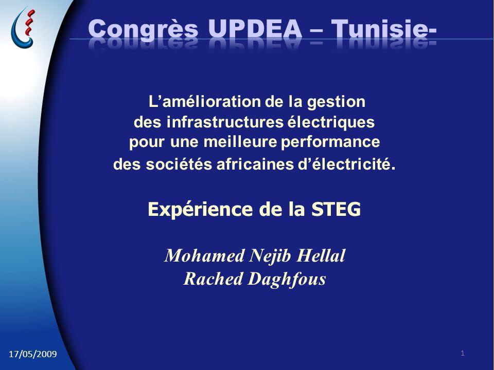 17/05/2009 1 Lamélioration de la gestion des infrastructures électriques pour une meilleure performance des sociétés africaines délectricité. Expérien