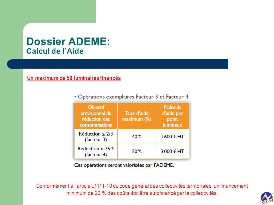 Un maximum de 50 luminaires financés Conformément à larticle L1111-10 du code général des collectivités territoriales, un financement minimum de 20 %