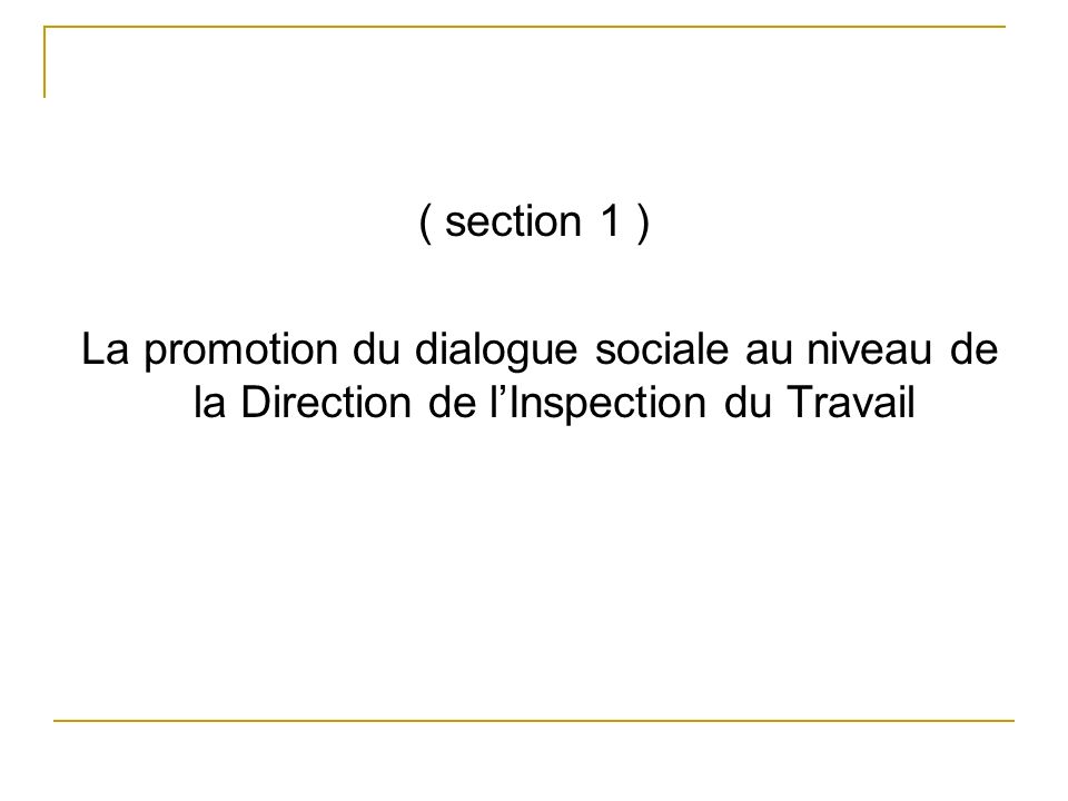( section 1 ) La promotion du dialogue sociale au niveau de la Direction de lInspection du Travail