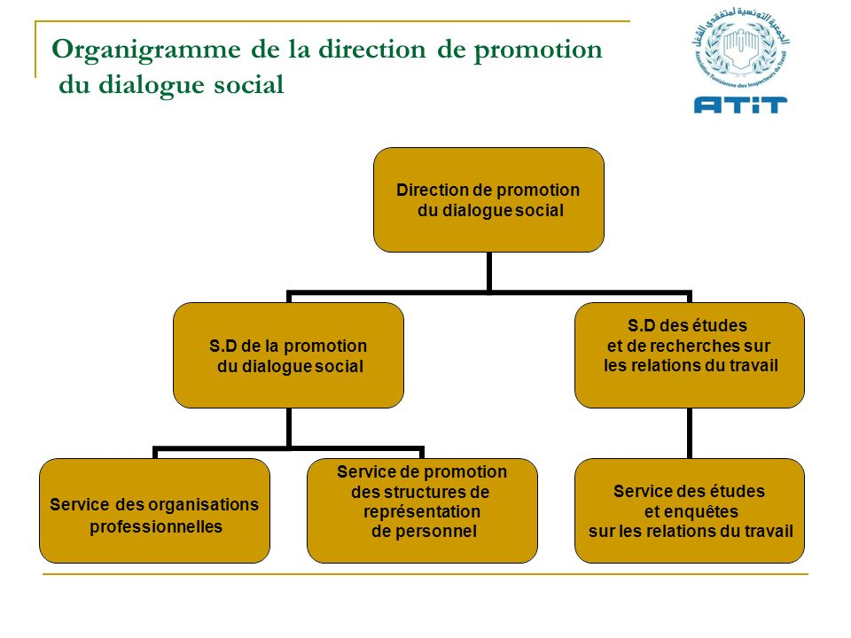 Organigramme de la direction de promotion du dialogue social Direction de promotion du dialogue social S.D de la promotion du dialogue social Service
