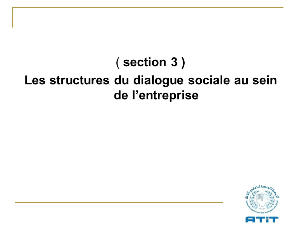 ( section 3 ) Les structures du dialogue sociale au sein de lentreprise