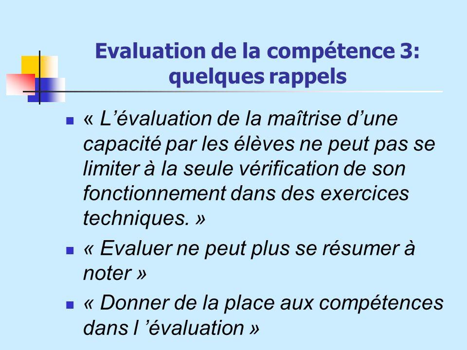 Evaluation de la compétence 3: quelques rappels « Lévaluation de la maîtrise dune capacité par les élèves ne peut pas se limiter à la seule vérificati