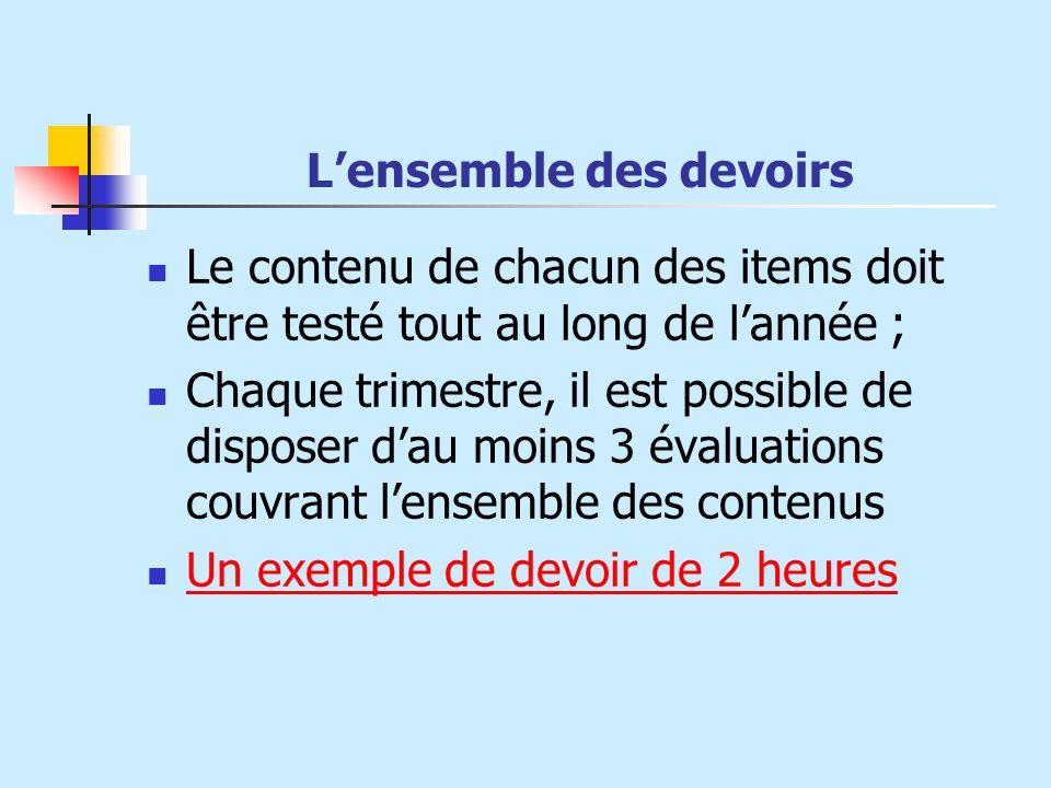 Lensemble des devoirs Le contenu de chacun des items doit être testé tout au long de lannée ; Chaque trimestre, il est possible de disposer dau moins