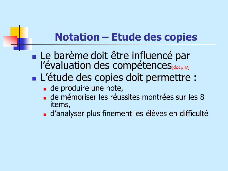 Notation – Etude des copies Le barème doit être influencé par lévaluation des compétences (doc p 42) (doc p 42) Létude des copies doit permettre : de