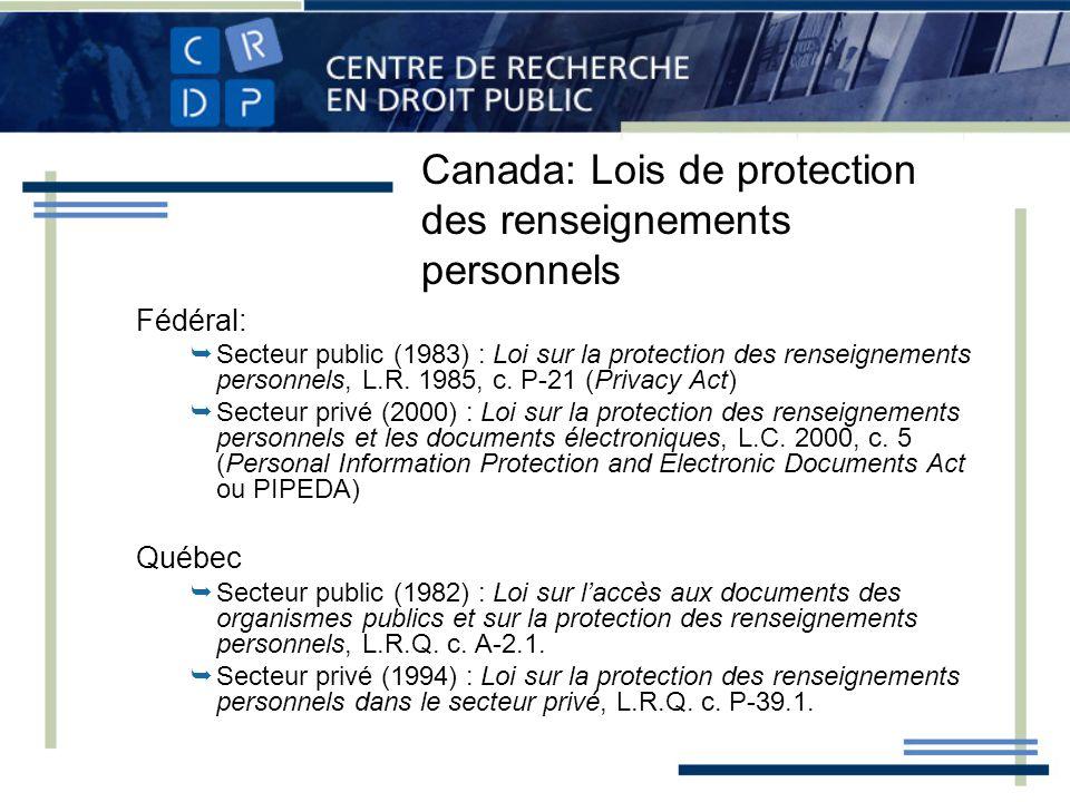 Canada: Lois de protection des renseignements personnels Fédéral: Secteur public (1983) : Loi sur la protection des renseignements personnels, L.R. 19
