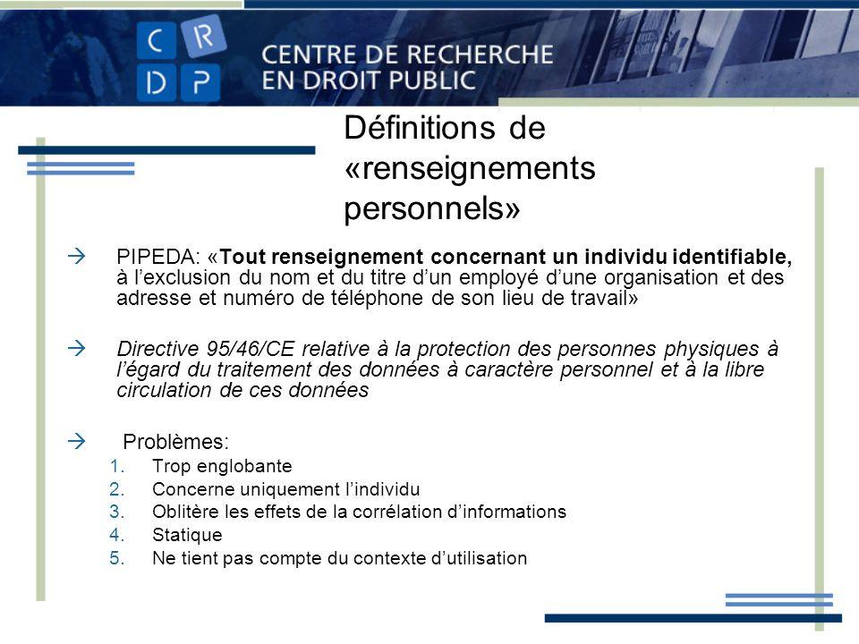 Définitions de «renseignements personnels» PIPEDA: «Tout renseignement concernant un individu identifiable, à lexclusion du nom et du titre dun employ
