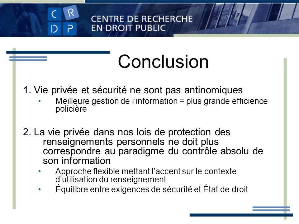 Conclusion 1. Vie privée et sécurité ne sont pas antinomiques Meilleure gestion de linformation = plus grande efficience policière 2. La vie privée da