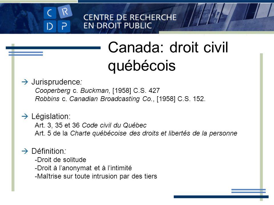Canada: droit civil québécois Jurisprudence: Cooperberg c. Buckman, [1958] C.S. 427 Robbins c. Canadian Broadcasting Co., [1958] C.S. 152. Législation