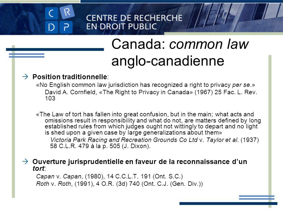 Canada: common law anglo-canadienne Position traditionnelle: «No English common law jurisdiction has recognized a right to privacy per se.» David A. C
