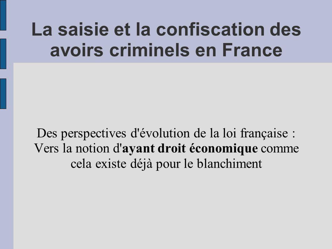 La saisie et la confiscation des avoirs criminels en France Des perspectives d'évolution de la loi française : Vers la notion d'ayant droit économique