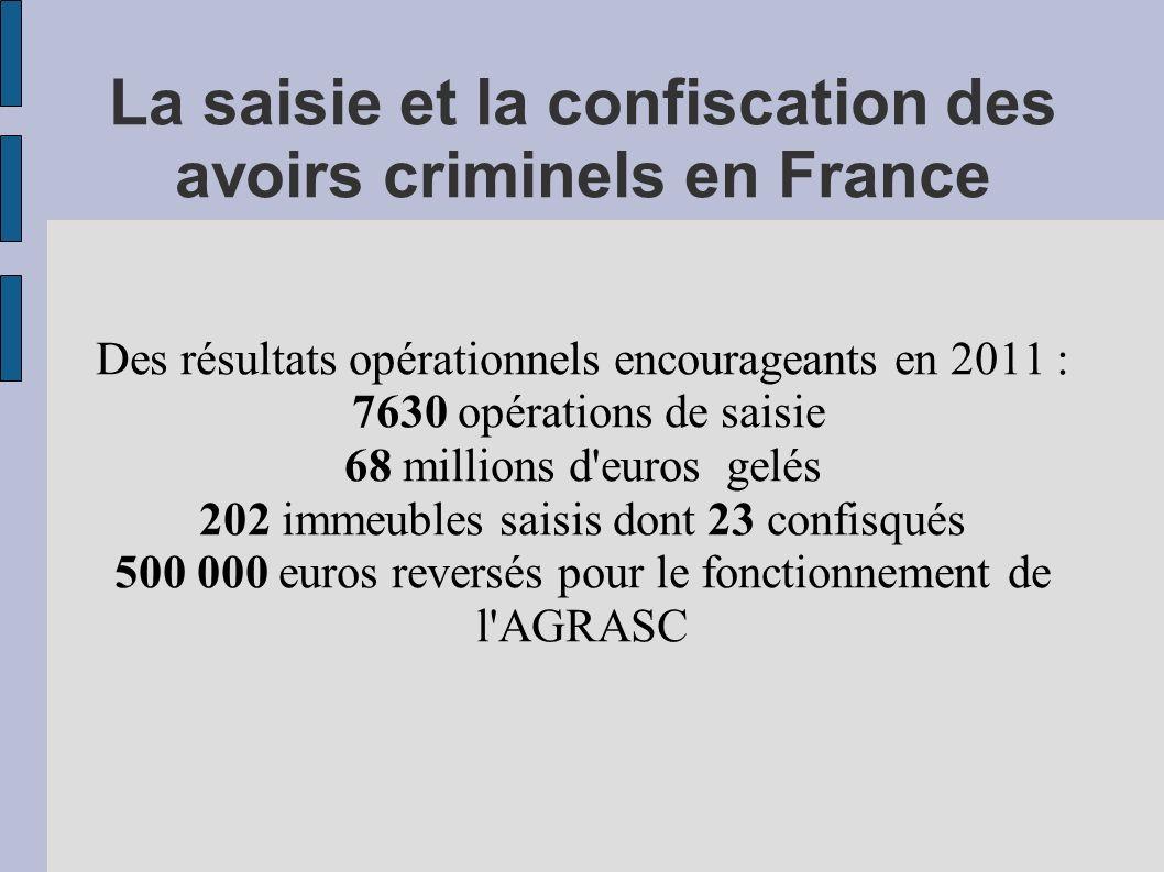 La saisie et la confiscation des avoirs criminels en France Des résultats opérationnels encourageants en 2011 : 7630 opérations de saisie 68 millions