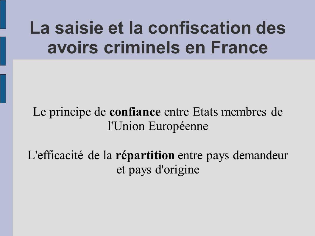 La saisie et la confiscation des avoirs criminels en France Le principe de confiance entre Etats membres de l'Union Européenne L'efficacité de la répa
