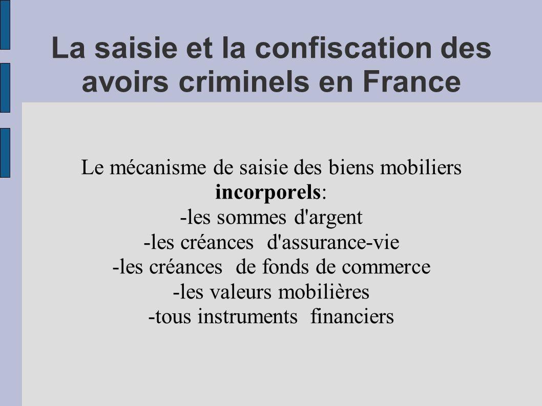 La saisie et la confiscation des avoirs criminels en France Le mécanisme de saisie des biens mobiliers incorporels: -les sommes d'argent -les créances