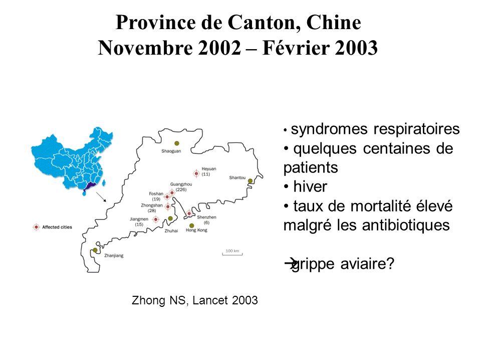 Zhong NS, Lancet 2003 Province de Canton, Chine Novembre 2002 – Février 2003 syndromes respiratoires quelques centaines de patients hiver taux de mortalité élevé malgré les antibiotiques grippe aviaire?