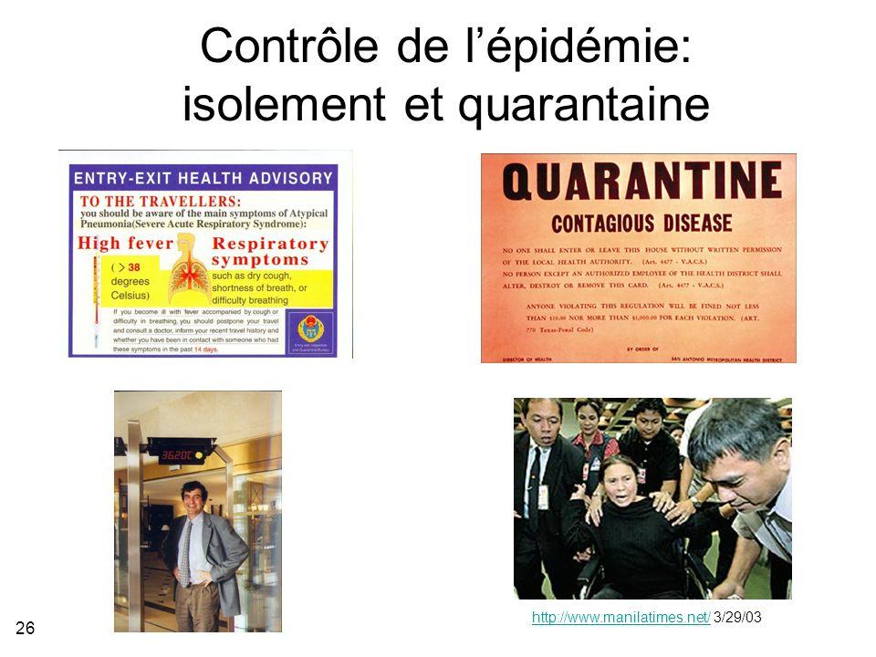 26 Contrôle de lépidémie: isolement et quarantaine http://www.manilatimes.net/http://www.manilatimes.net/ 3/29/03