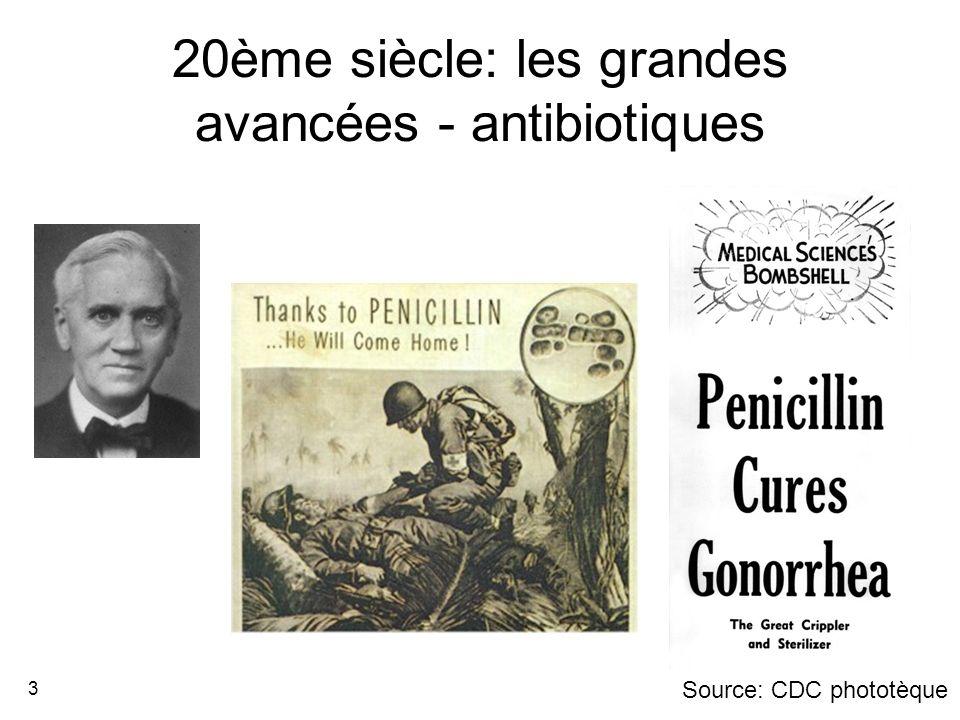 3 20ème siècle: les grandes avancées - antibiotiques Source: CDC phototèque