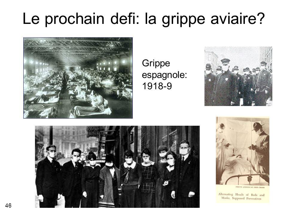 46 Le prochain defi: la grippe aviaire? Grippe espagnole: 1918-9