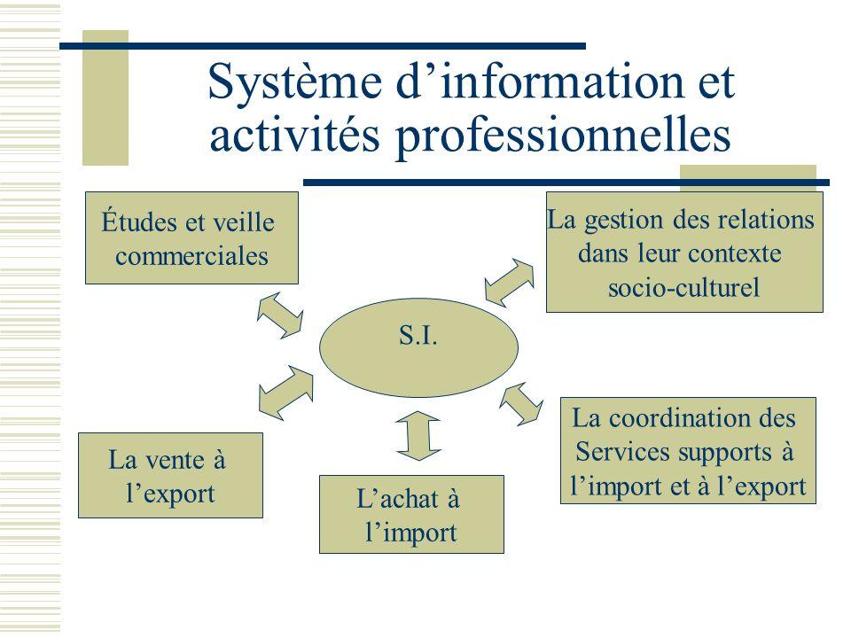 Système dinformation et activités professionnelles Études et veille commerciales S.I. La vente à lexport La gestion des relations dans leur contexte s