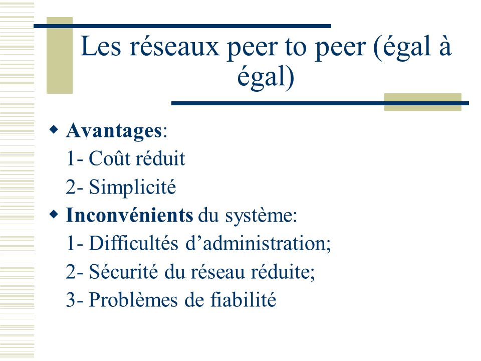 Les réseaux peer to peer (égal à égal) Avantages: 1- Coût réduit 2- Simplicité Inconvénients du système: 1- Difficultés dadministration; 2- Sécurité d