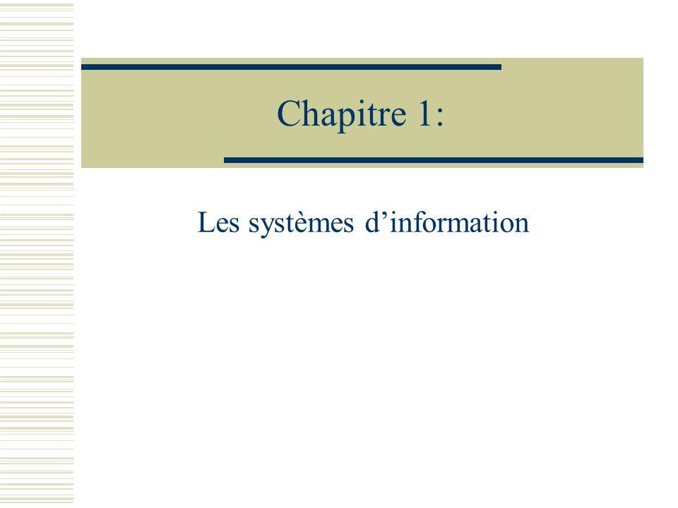 Chapitre 1: Les systèmes dinformation