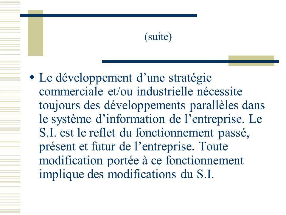 (suite) Le développement dune stratégie commerciale et/ou industrielle nécessite toujours des développements parallèles dans le système dinformation d