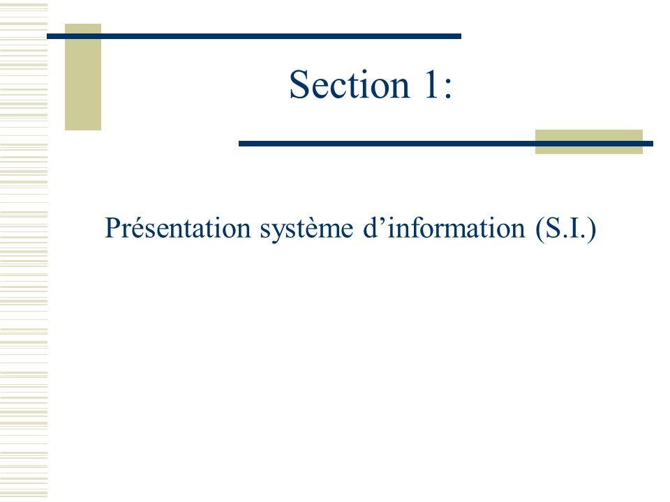 Section 1: Présentation système dinformation (S.I.)