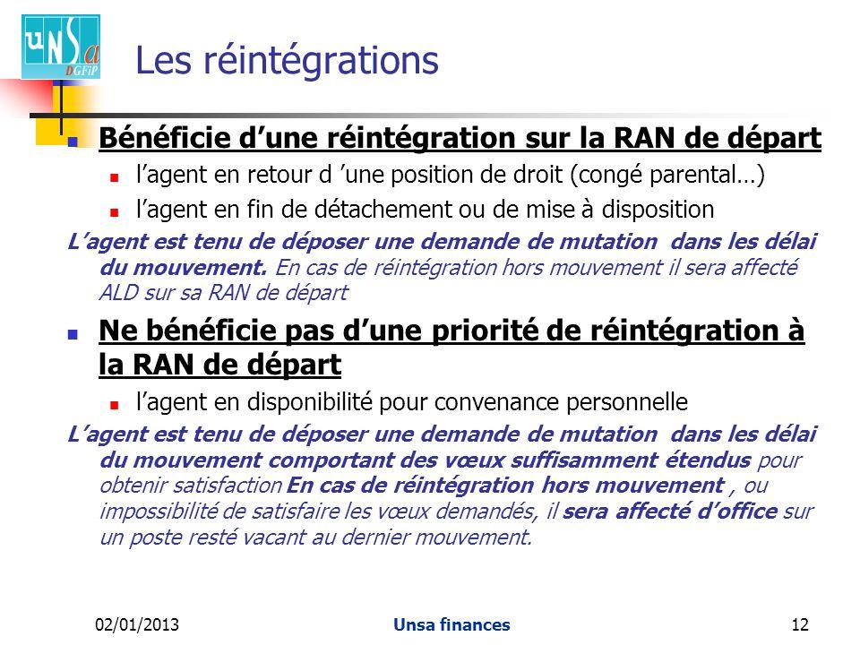 02/01/2013Unsa finances12 Les réintégrations Bénéficie dune réintégration sur la RAN de départ lagent en retour d une position de droit (congé parental…) lagent en fin de détachement ou de mise à disposition Lagent est tenu de déposer une demande de mutation dans les délai du mouvement.