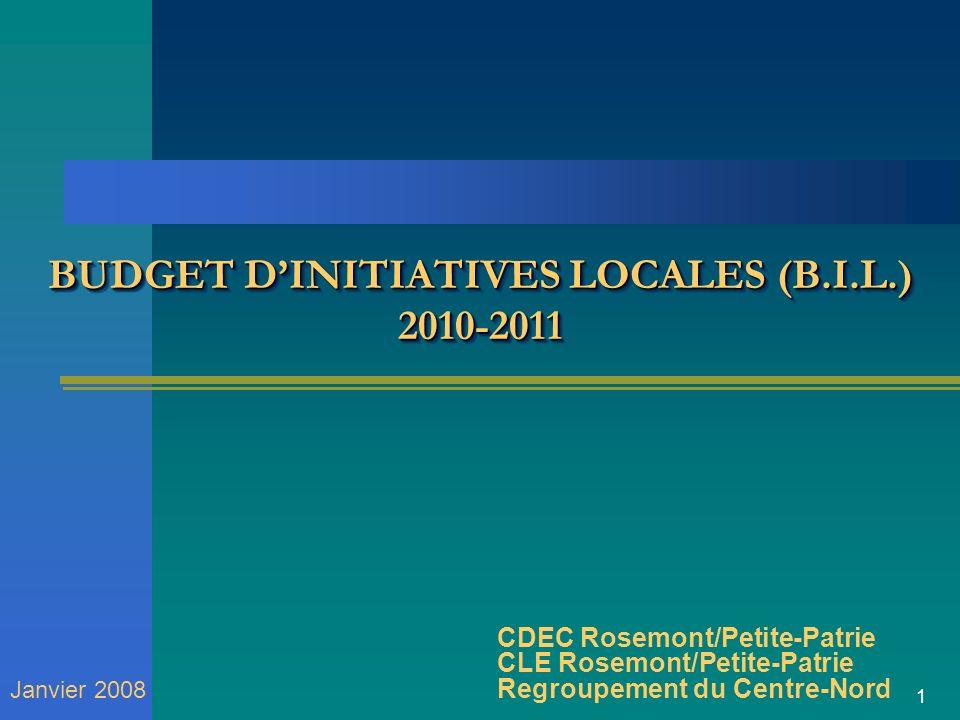 1 BUDGET DINITIATIVES LOCALES (B.I.L.) 2010-2011 CDEC Rosemont/Petite-Patrie CLE Rosemont/Petite-Patrie Regroupement du Centre-Nord Janvier 2008