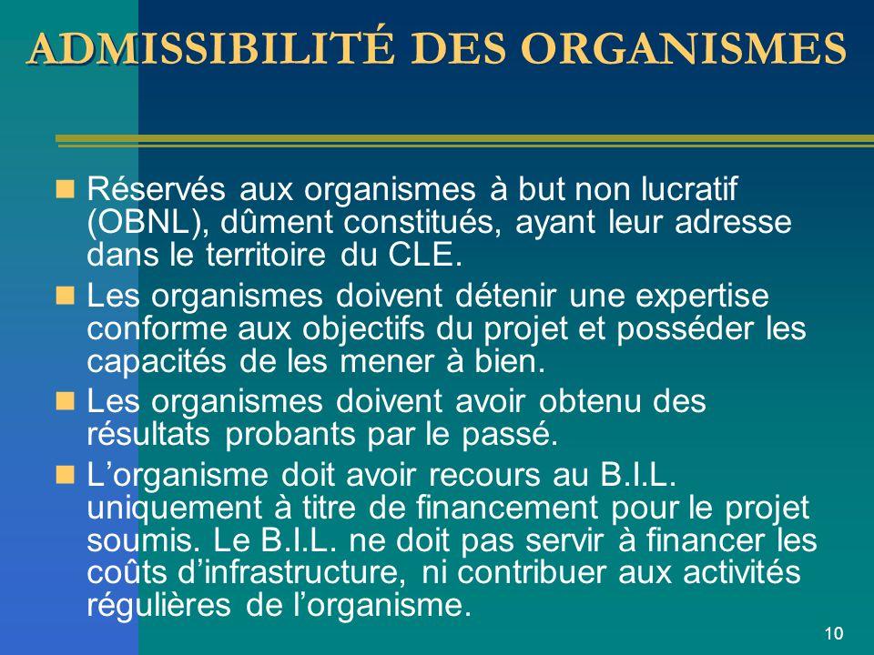 10 ADMISSIBILITÉ DES ORGANISMES Réservés aux organismes à but non lucratif (OBNL), dûment constitués, ayant leur adresse dans le territoire du CLE.