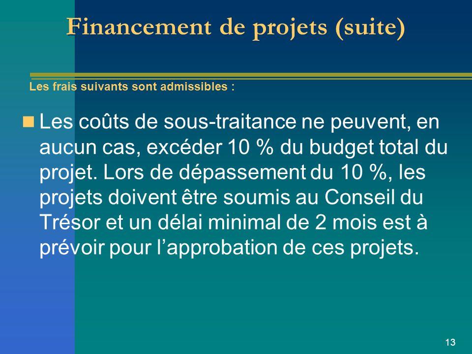 13 Financement de projets (suite) Les coûts de sous-traitance ne peuvent, en aucun cas, excéder 10 % du budget total du projet.