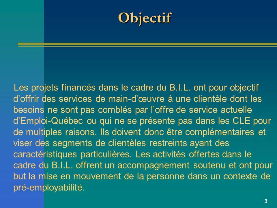 3 ObjectifObjectif Les projets financés dans le cadre du B.I.L.