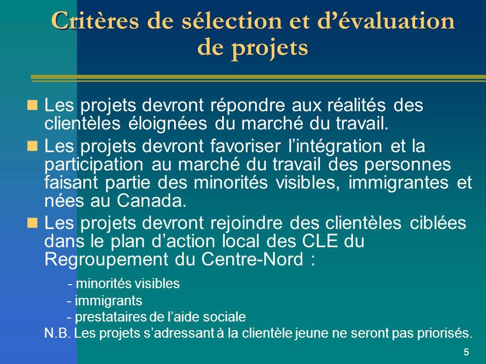 5 Critères de sélection et dévaluation de projets Les projets devront répondre aux réalités des clientèles éloignées du marché du travail.