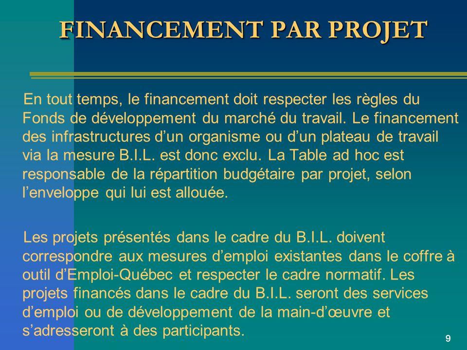 9 FINANCEMENT PAR PROJET En tout temps, le financement doit respecter les règles du Fonds de développement du marché du travail.
