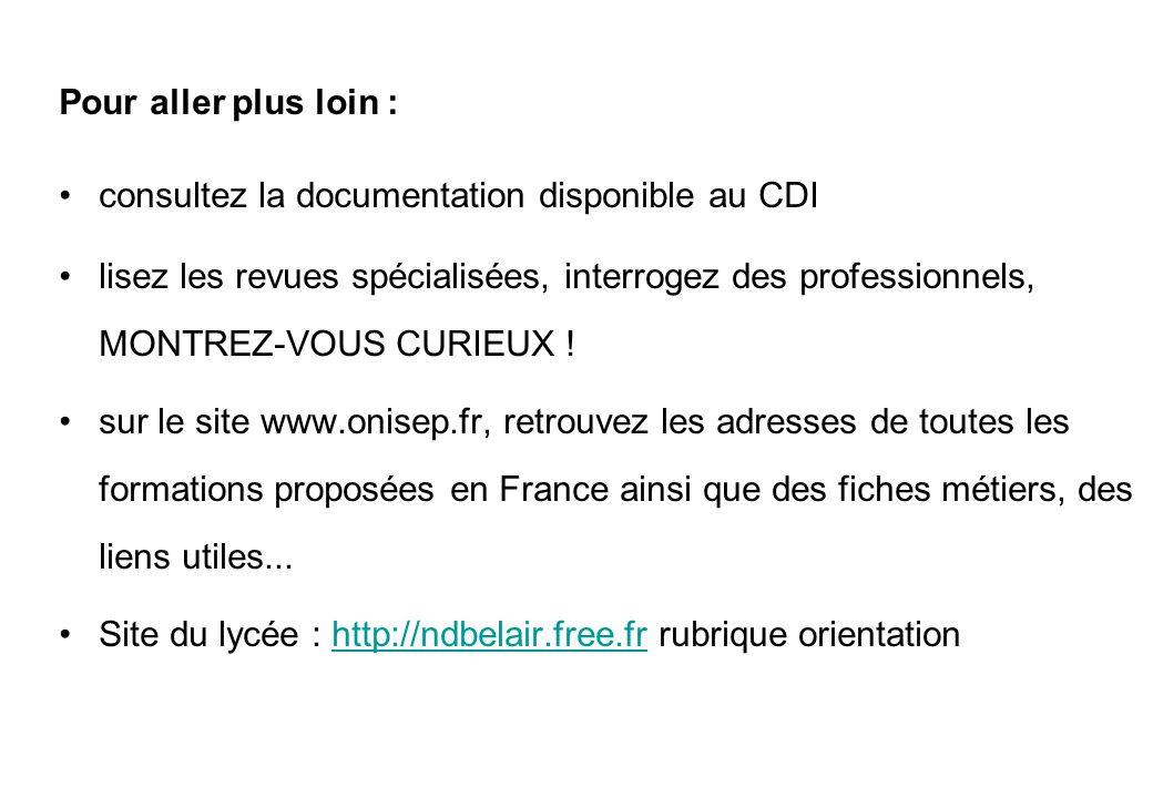 Pour aller plus loin : consultez la documentation disponible au CDI lisez les revues spécialisées, interrogez des professionnels, MONTREZ-VOUS CURIEUX .