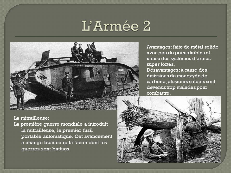 La mitrailleuse: La première guerre mondiale a introduit la mitrailleuse, le premier fusil portable automatique.