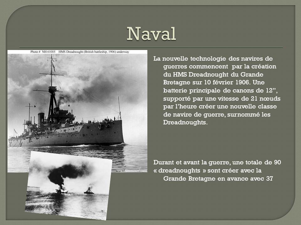 La nouvelle technologie des navires de guerres commencent par la création du HMS Dreadnought du Grande Bretagne sur 10 février 1906.