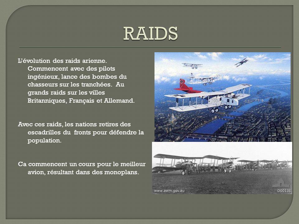 Lévolution des raids arienne.