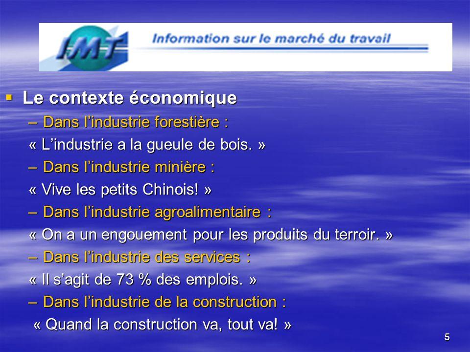 5 Le contexte économique Le contexte économique –Dans lindustrie forestière : –Dans lindustrie forestière : « Lindustrie a la gueule de bois.
