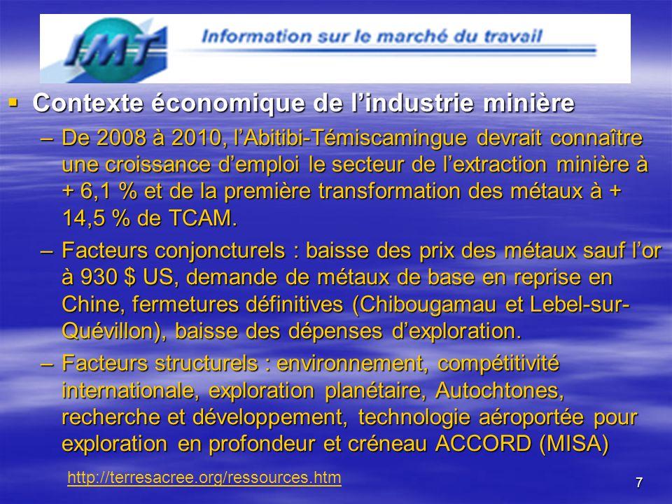 7 Contexte économique de lindustrie minière Contexte économique de lindustrie minière –De 2008 à 2010, lAbitibi-Témiscamingue devrait connaître une croissance demploi le secteur de lextraction minière à + 6,1 % et de la première transformation des métaux à + 14,5 % de TCAM.