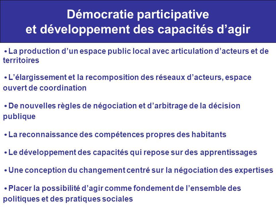 Démocratie participative et développement des capacités dagir La production dun espace public local avec articulation dacteurs et de territoires Lélar