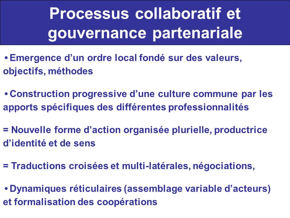 Processus collaboratif et gouvernance partenariale Emergence dun ordre local fondé sur des valeurs, objectifs, méthodes Construction progressive dune