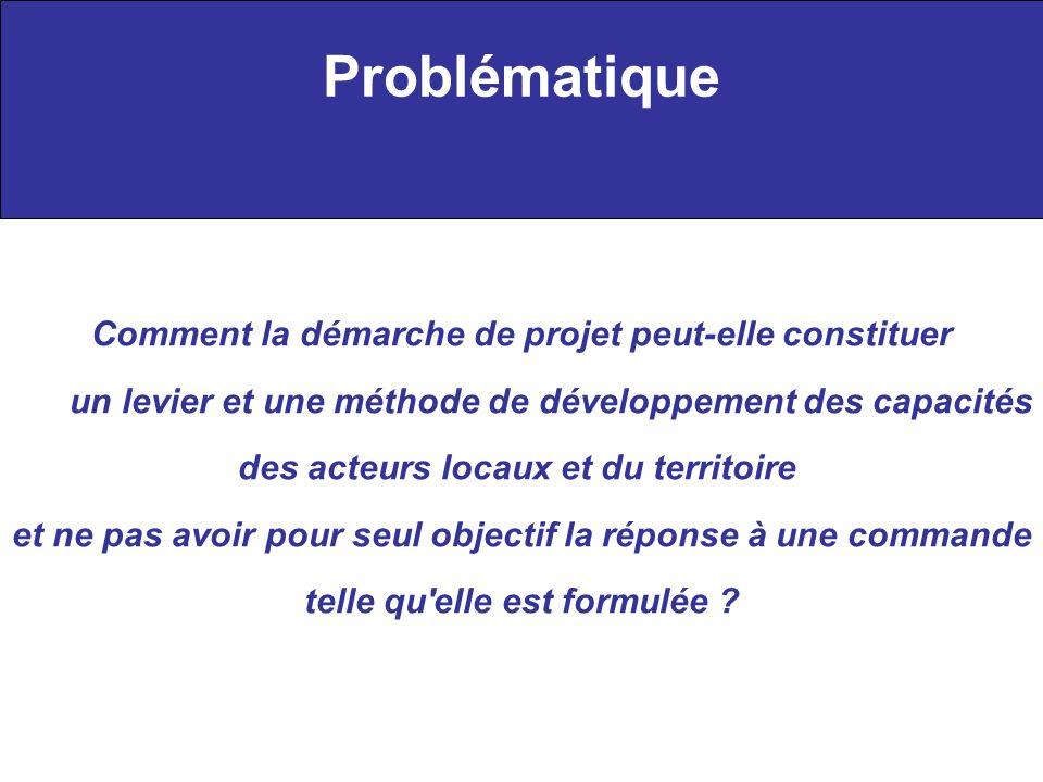Problématique Comment la démarche de projet peut-elle constituer un levier et une méthode de développement des capacités des acteurs locaux et du terr