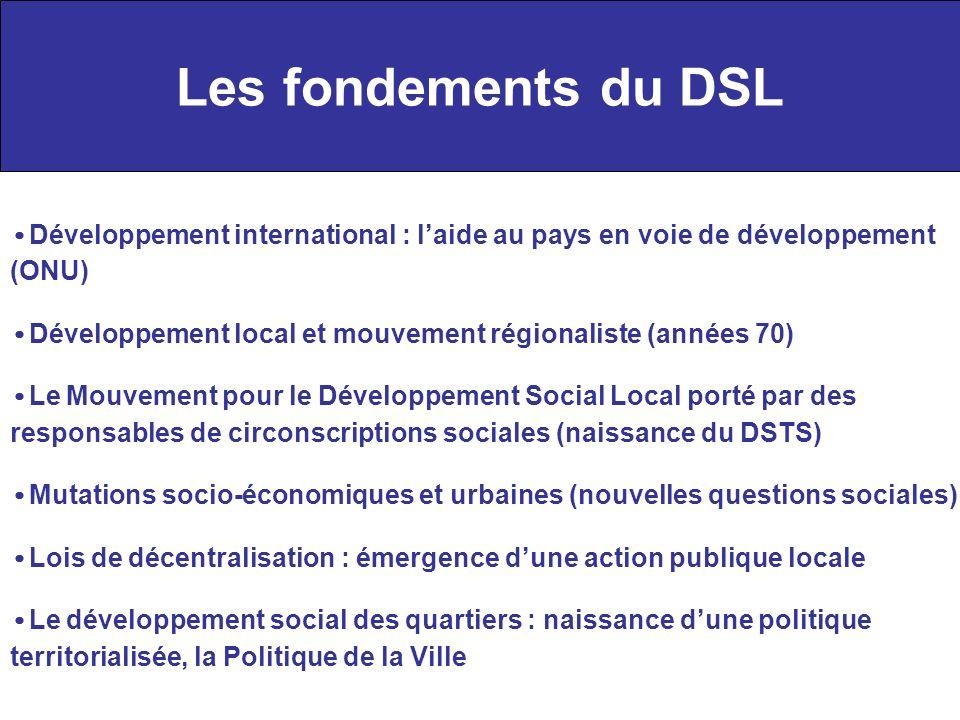 Les fondements du DSL Développement international : laide au pays en voie de développement (ONU) Développement local et mouvement régionaliste (années