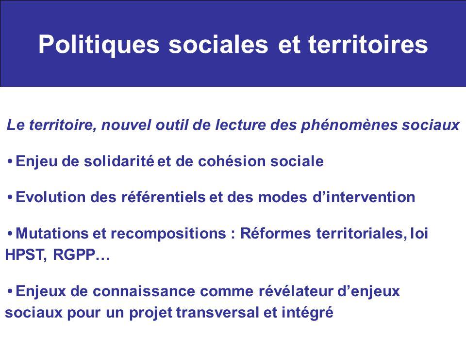 Politiques sociales et territoires Le territoire, nouvel outil de lecture des phénomènes sociaux Enjeu de solidarité et de cohésion sociale Evolution