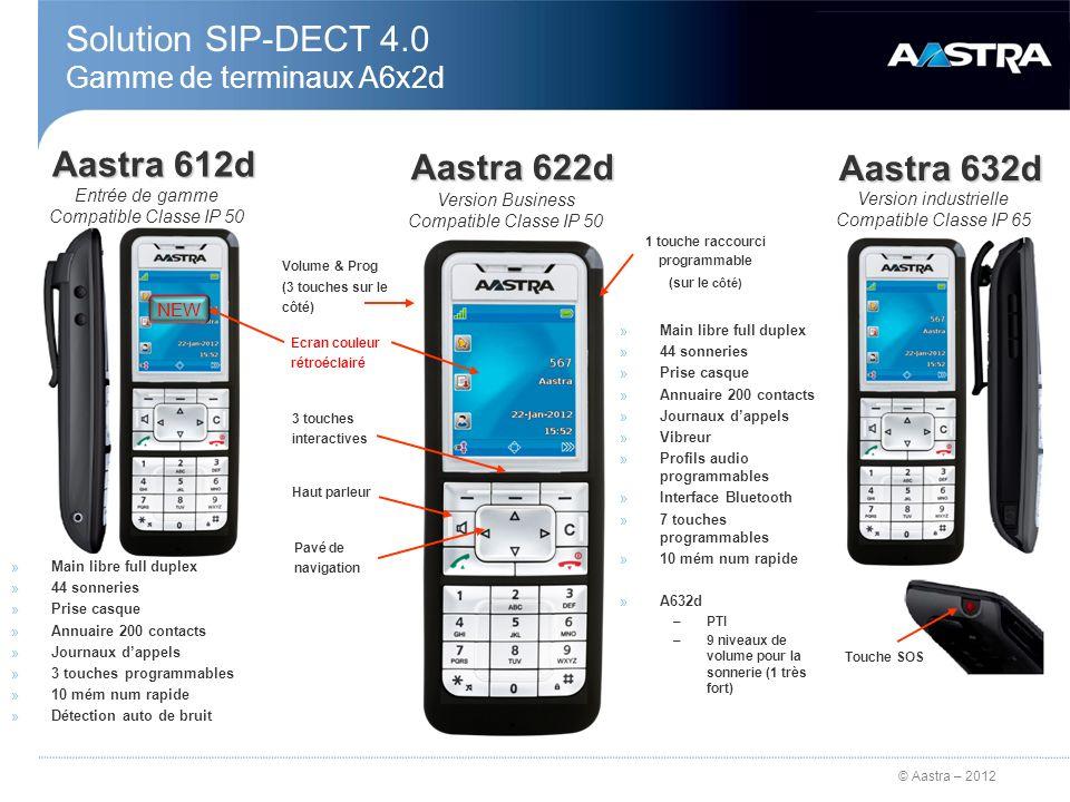 © Aastra – 2012 Solution SIP-DECT 4.0 Gamme de terminaux A6x2d Aastra 612d Touche SOS Aastra 632d Aastra 622d Volume & Prog (3 touches sur le côté) En