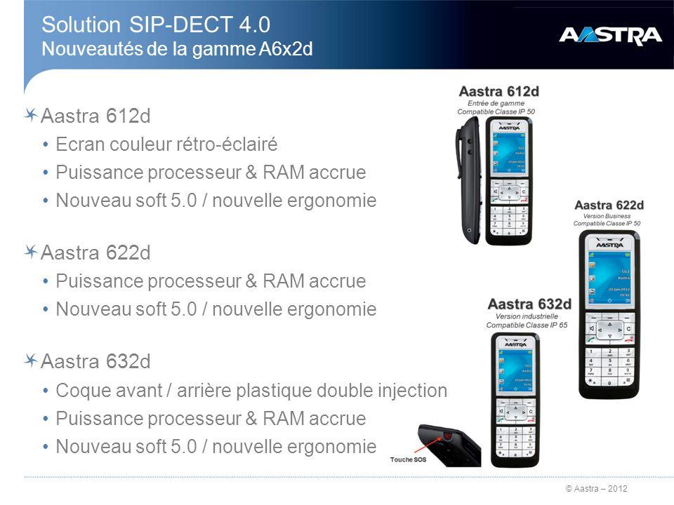 © Aastra – 2012 Aastra 612d Ecran couleur rétro-éclairé Puissance processeur & RAM accrue Nouveau soft 5.0 / nouvelle ergonomie Aastra 622d Puissance