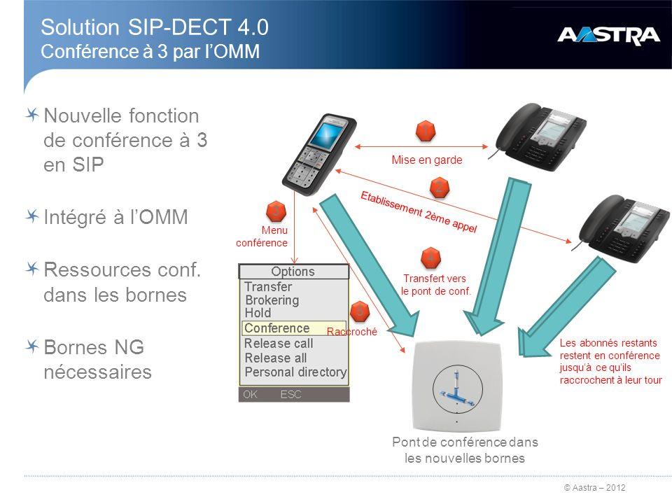 © Aastra – 2012 Solution SIP-DECT 4.0 Conférence à 3 par lOMM Nouvelle fonction de conférence à 3 en SIP Intégré à lOMM Ressources conf. dans les born