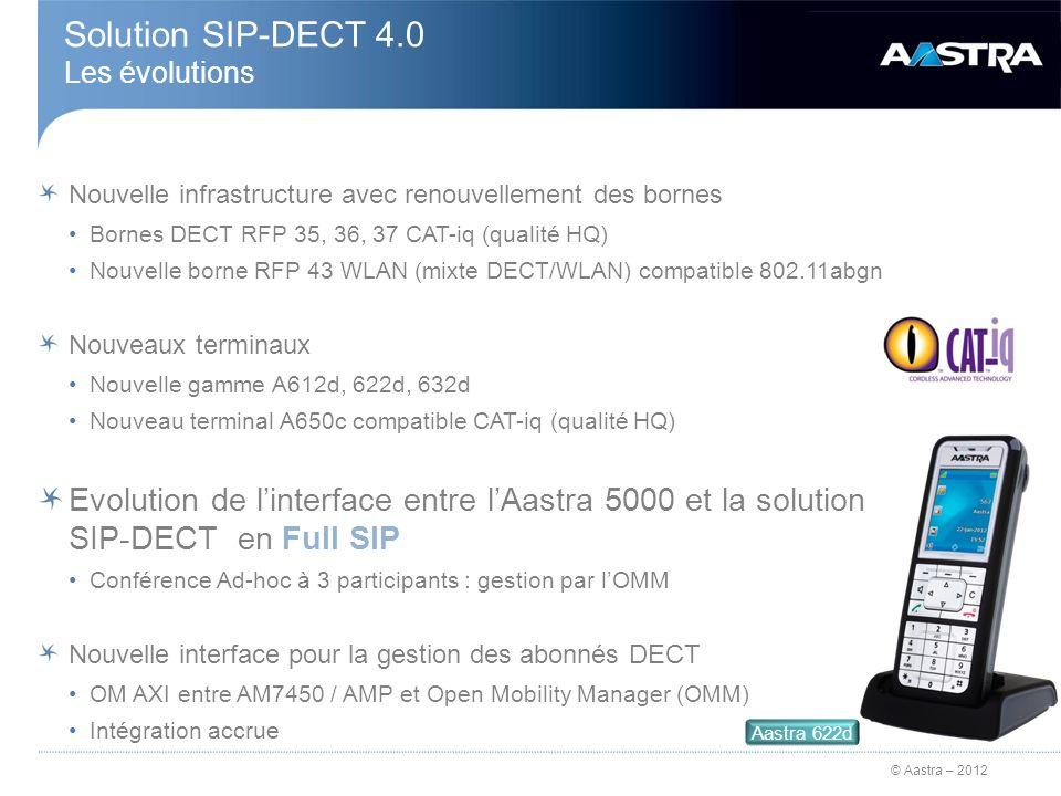 © Aastra – 2012 Nouvelle gamme de bornes DECT Compatible Audio haute qualité (CAT-iq 1.0) >Support de G.722 Performance processeur améliorée Compact Flash 1Gbit permettant de booter localement (sans TFTP) Ports : >Ethernet 10/100/1000 >USB 2.0 (sur les bornes intérieures) Compatible avec les RFP 32/34 (taille / visserie) Nouvelles bornes DECT 35, 36, 37 15.03.2012 Borne DECT interne RFP 35Bornes DECT externes RFP 36 et 37 RFP 36RFP 37